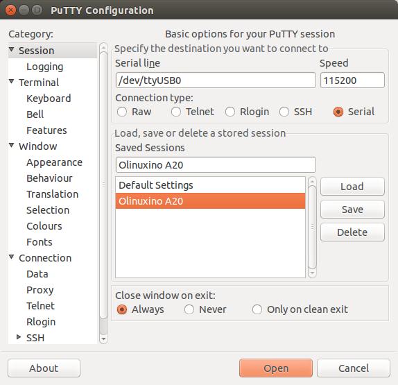 PuTTY configuration Olinuxino A20
